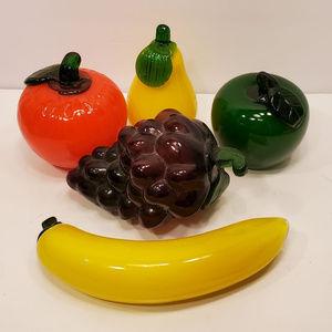 5 Vintage MURANO Glass Fruits